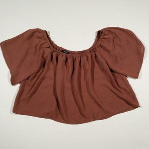 Forever 21 Rust Red Flounce Crop Top Shirt